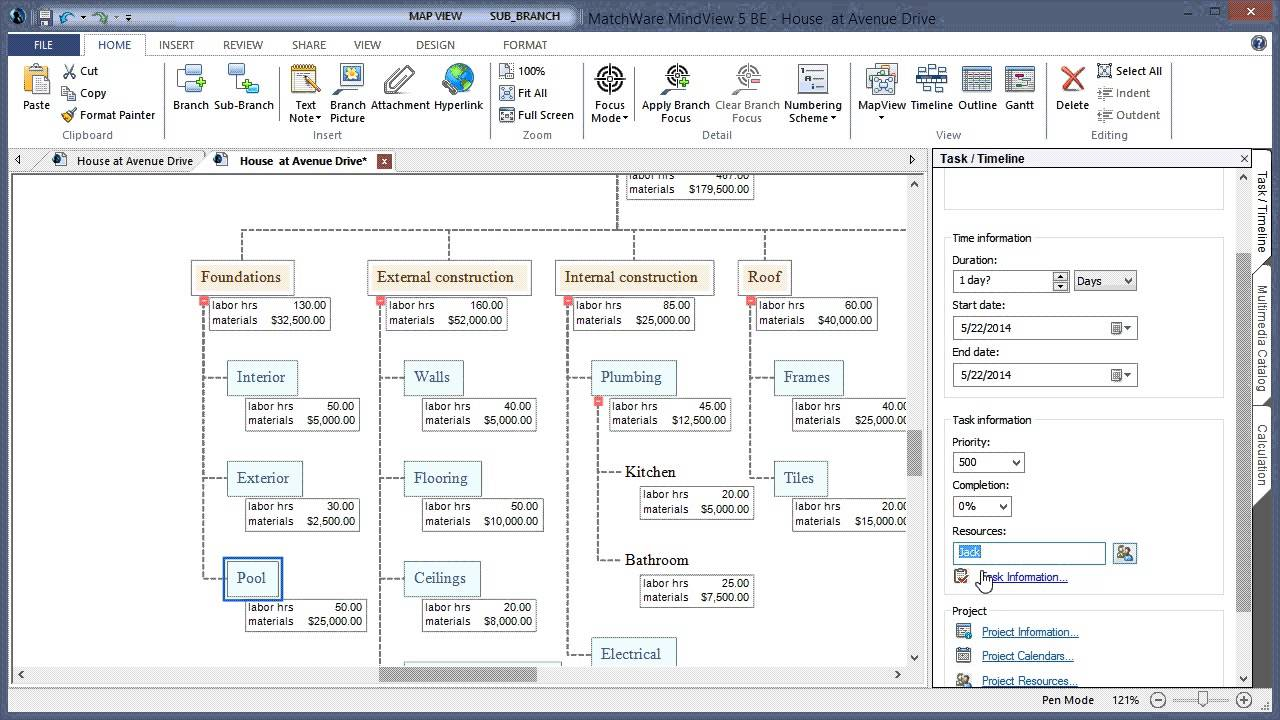 Work Breakdown Structure in MindView 5 Mind Mapping Software
