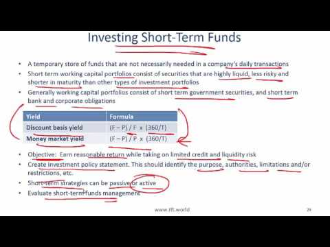 2017 Level I CFA Corporate Finance: Working Capital Summary