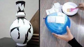 How to make vase with paper and balloon - DIY Flower Pot - DIY Plastic Bottle Vase