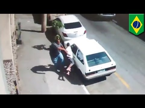 Brazilian man kicks would-be car thief to the ground with one blow