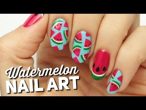 Cute Watermelon Slice Nail Art