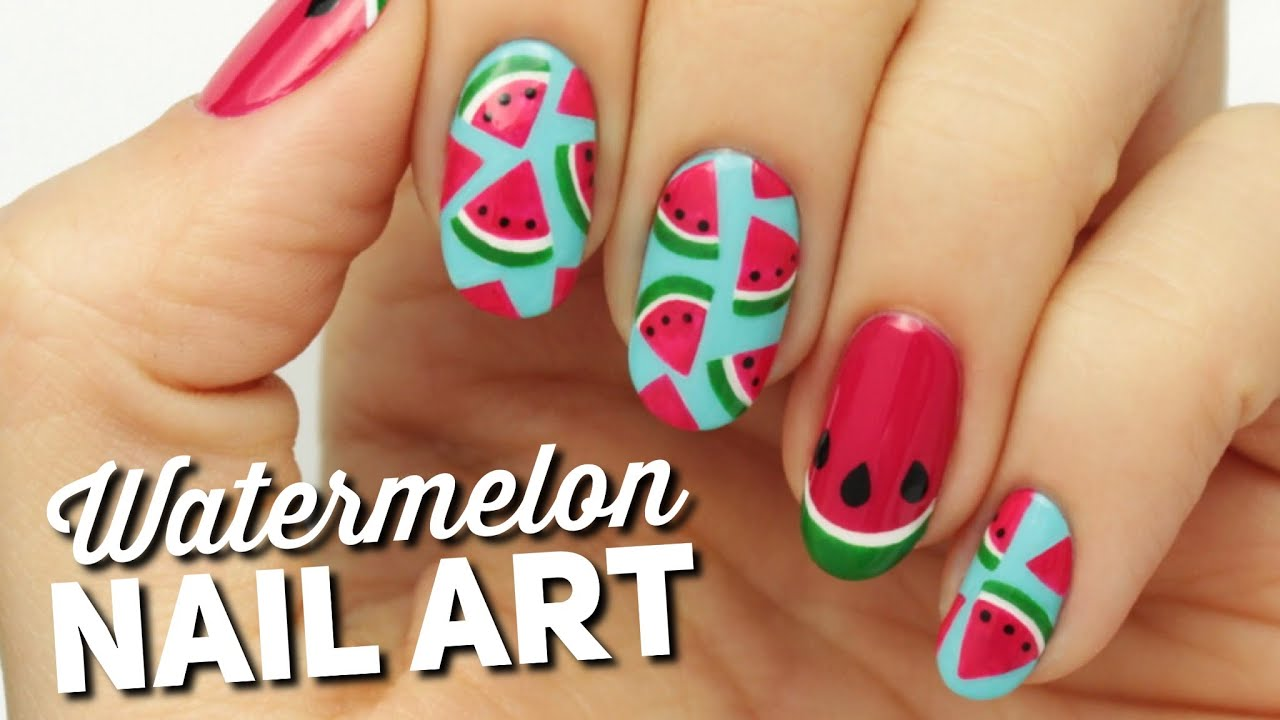 Cute watermelon slice nail art youtube prinsesfo Images