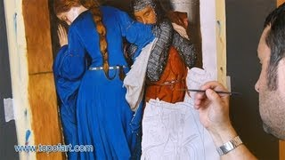 Art Reproduction (Burton - The Meeting on the Turret Stairs) Hand-Painted Step by Step