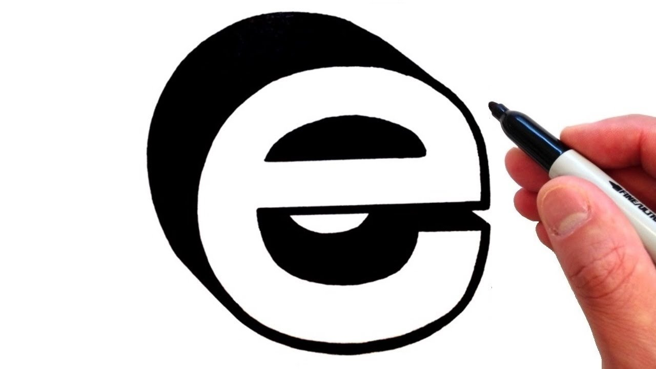 how to draw letter e in lowercase 3d youtube
