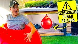GETTING STUCK IN HUMAN BALLOON (man vs balloon)