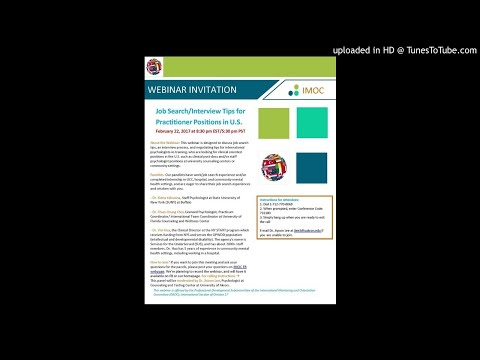 IMOC Webinar 2: Job Search/Interview Tips for Practitioner Positions in U.S.