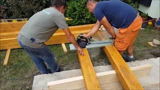 Montaż tarasu z drewna egzotycznego garapa i pergoli drewnianej z drewna klejonego