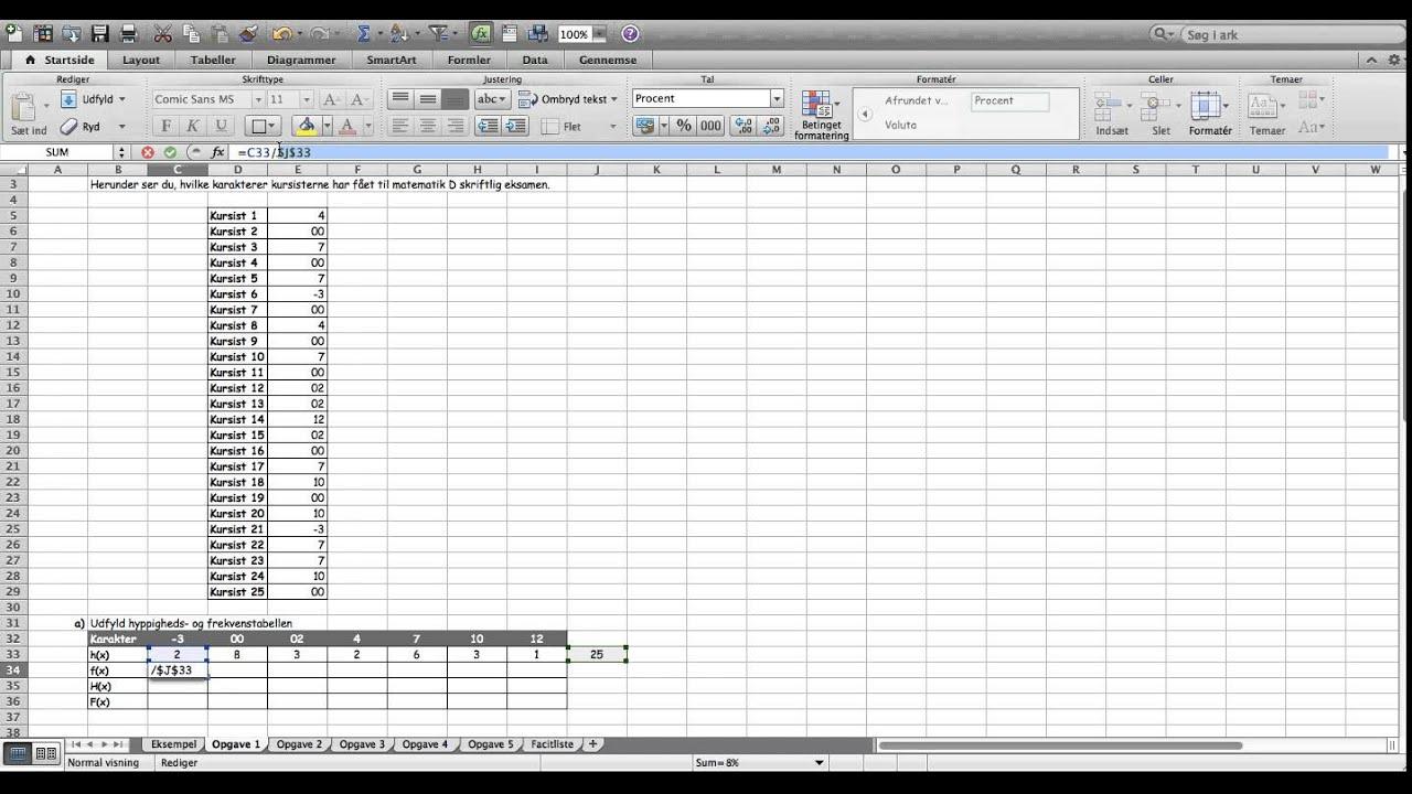 statistik hyppighed og frekvensfordeling opgave 1