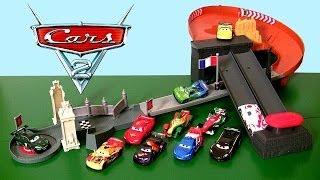 Cars Rivals Race-Off Track World Grand Prix Playset 2014 McQueen vs. Rip Clutchgoneski Race Track