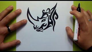 Como dibujar un rinoceronte tribal paso a paso   How to draw a tribal rhino