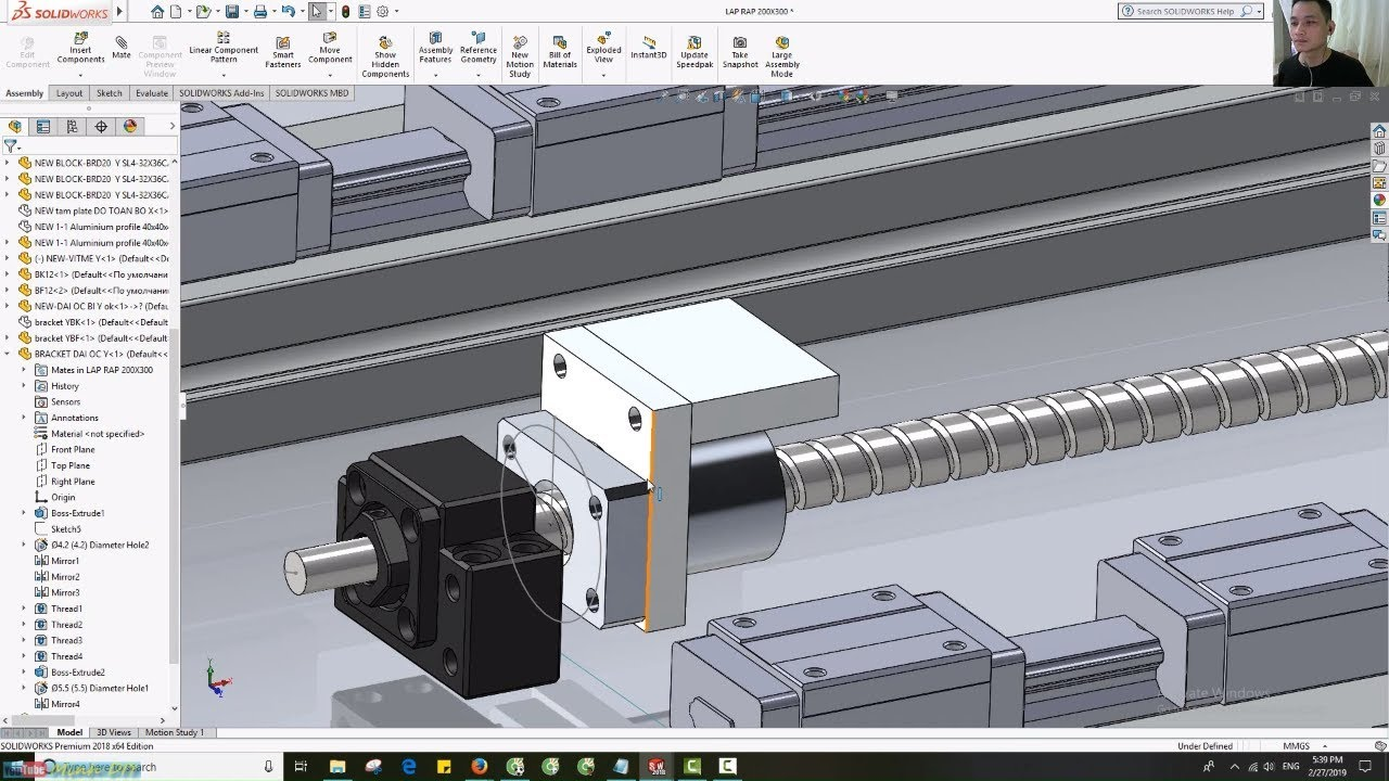 [DIY CNC – SolidWorks 2018] 11. Thiết Kế, Lắp Ráp Bracket Đai Ốc Vitme Bi Trục Y