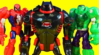 Imaginext Robot Wars Ultimate Battle With Batman Batbot Mech Armor Spider-man Iron Man And Hulk