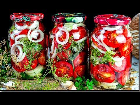 Помидоры дольками с луком на зиму, помидоры с чесноком на зиму. ПОМИДОРЫ зимой больше НЕ ПОКУПАЮ!