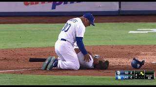 Rich Hill Gets Hit By a Pitch in the Neck