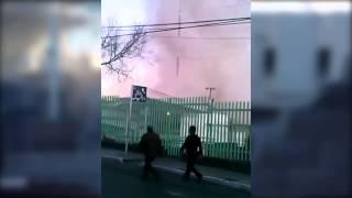 Momento de la explosión en hospital materno infantil de Cuajimalpa D.F.