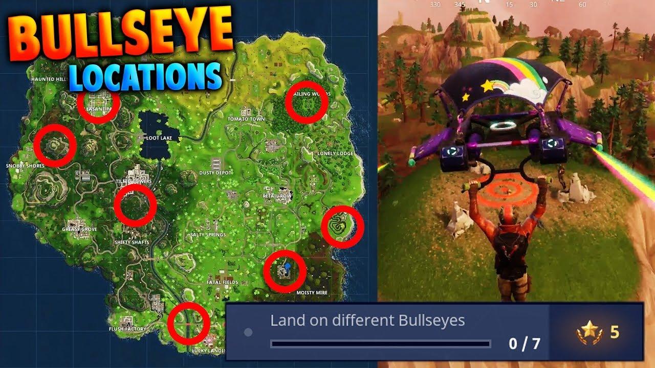 fortnite all 7 bullseye locations land on different bullseyes battle pass week 3 challenges - bullseye locations fortnite