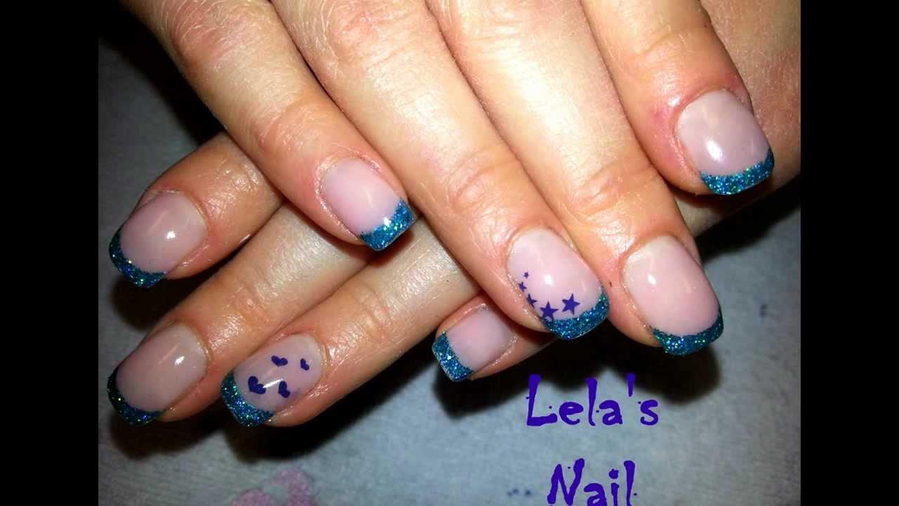 Teal glitter french nail art - YouTube