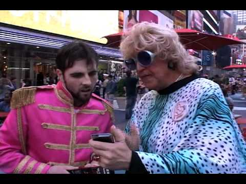 """Amber LeMay speaks with people about """"Ask Some Drag Queens"""" in Times Square, New York City!"""