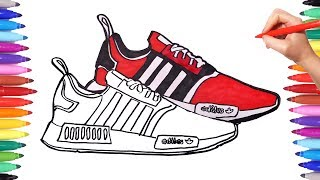 How to Draw Shoes | Shoes Coloring Pages | Coloring Sneakers Trainers Adidas Shoes | Learn Drawing
