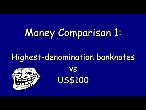 Money Comparison 1: Highest-denomination banknotes vs US$100