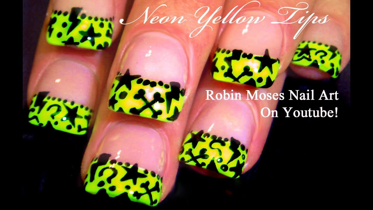 Neon Yellow Nails | Cute Stars Short Nail Art Design Tutorial - YouTube