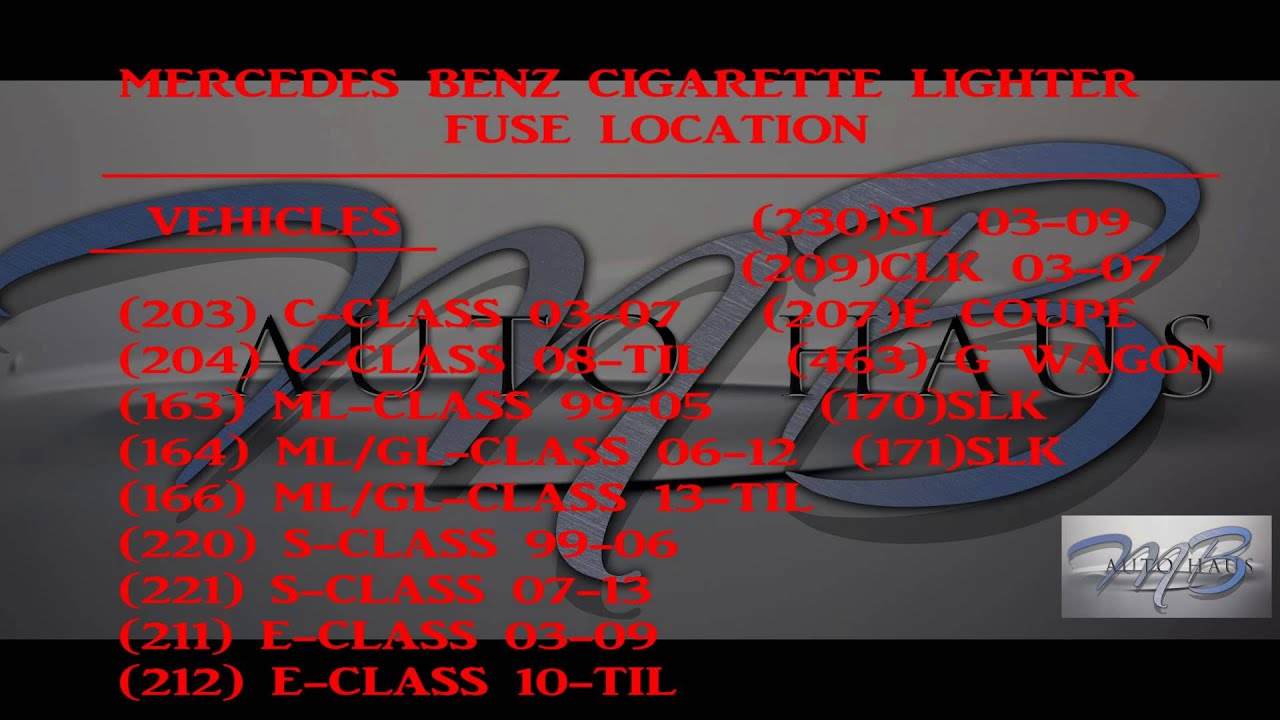 small resolution of mb autohaus mercedes benz cigar lighter fuse location part 1 of 2 youtube