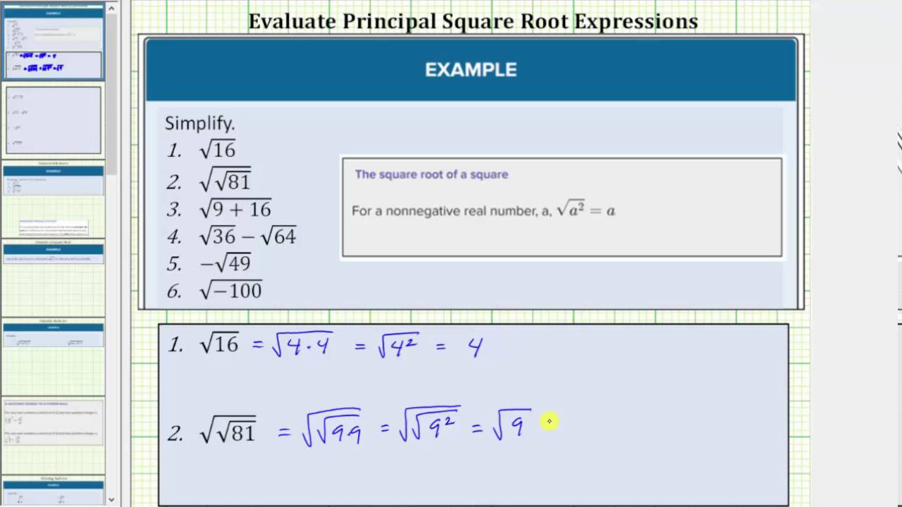 Define And Evaluate Roots Intermediate Algebra Square root of 225 square root of 625. define and evaluate roots