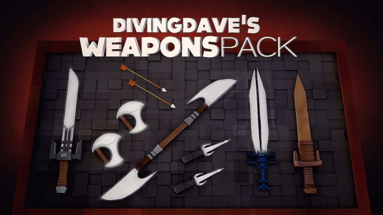 Minecraft Weapon Pack by DivingDave [FREE DOWNLOAD] - Cinema 4D Models