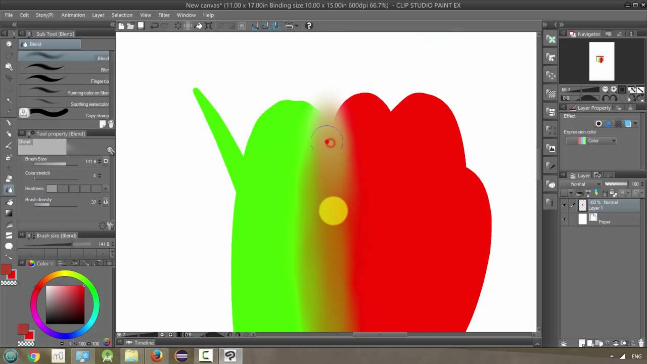 Manga Studio 5 / Clip Studio Paint: Blend Tool - YouTube