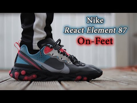 Nike React Element 87 (Solar Red/Blue Chill) On-Feet & Close Up with Different Pants