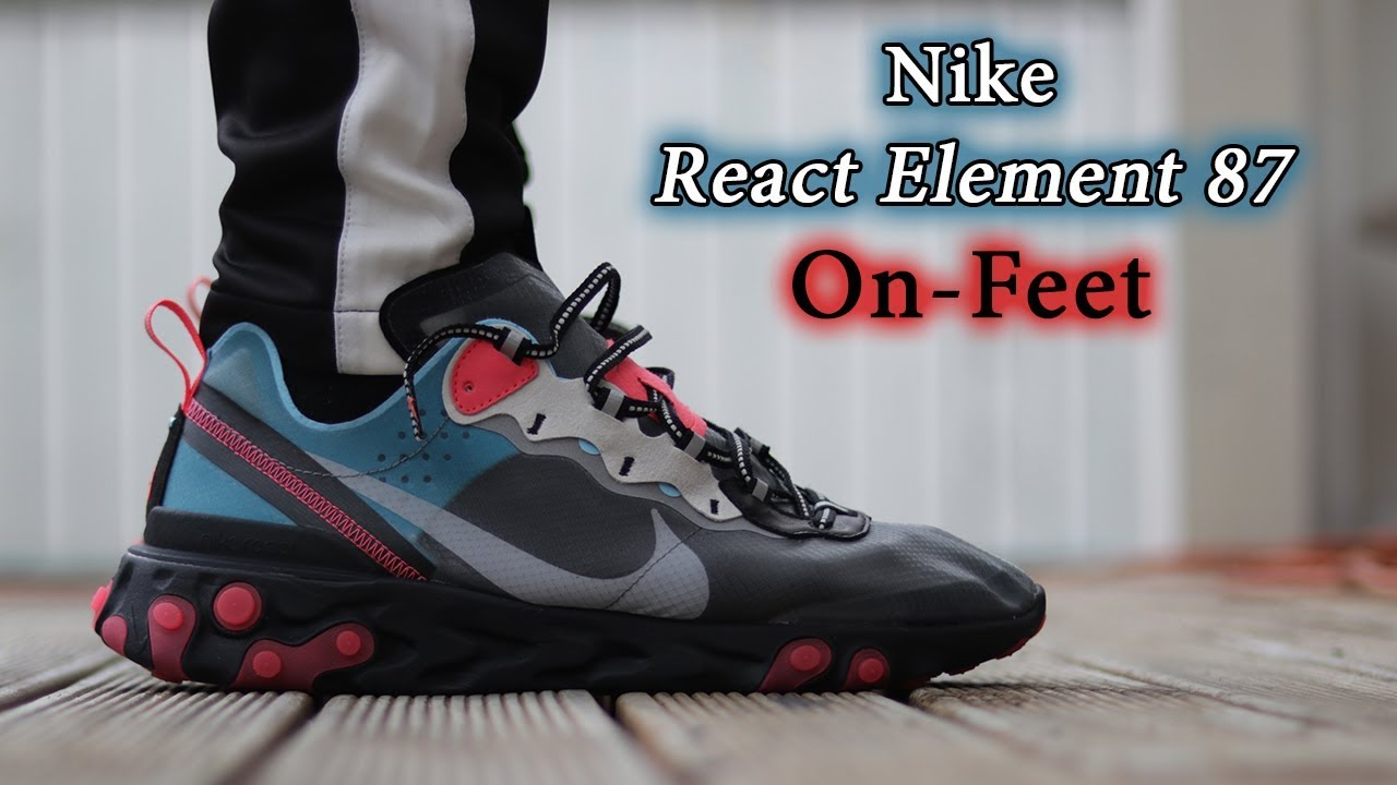 5dc239de3cc2 Nike React Element 87 (Solar Red Blue Chill) On-Feet   Close Up with  Different Pants