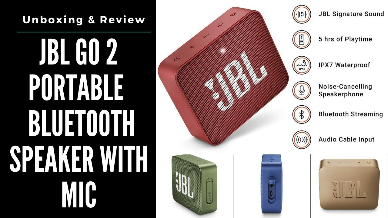 Jbl Go 2 Portable Waterproof Bluetooth Speaker With Mic Unboxing Review Best Portable Speaker Youtube