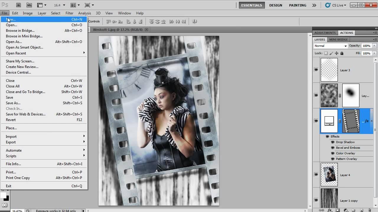 Grunge Filmstrip Template In Photoshop Cs5 Youtube