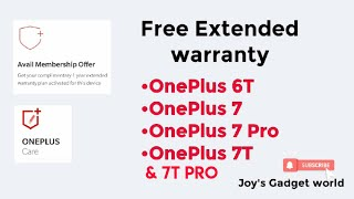 #Oneplus7t #Oneplus6t #oneplus7 OnePlus Users Get 1 year free extended warranty for oneplus devices