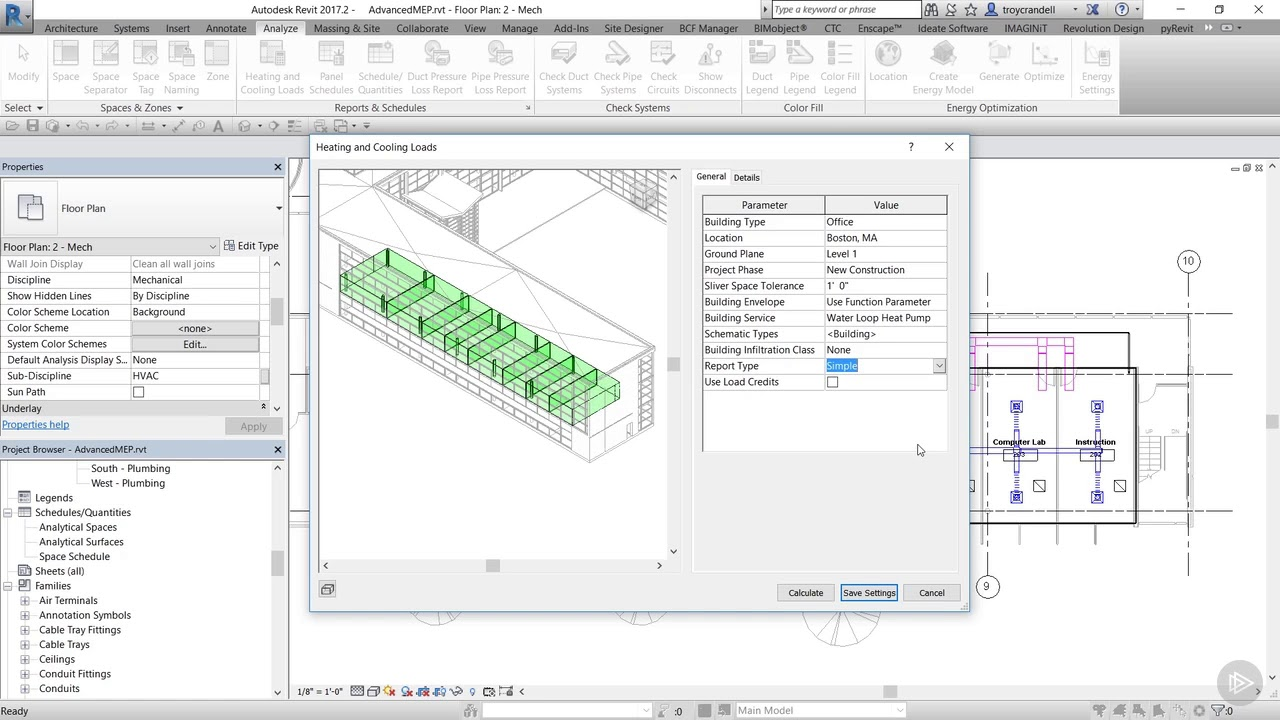 Generating the Heating and Cooling Loads Report in Revit
