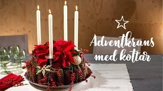 DIY: Adventskrans med kottar och julstjärnor