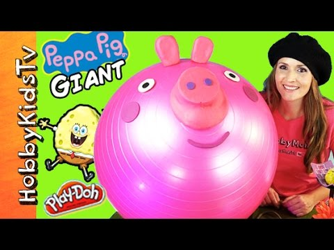 GIANT Play-Doh PEPPA PIG Surprise Egg Head and a SPONGEBOB Chocolate Egg