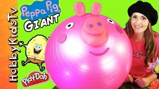 GIANT Play-Doh PEPPA PIG Surprise Egg Head and a SPONGEBOB Chocolate Egg thumbnail