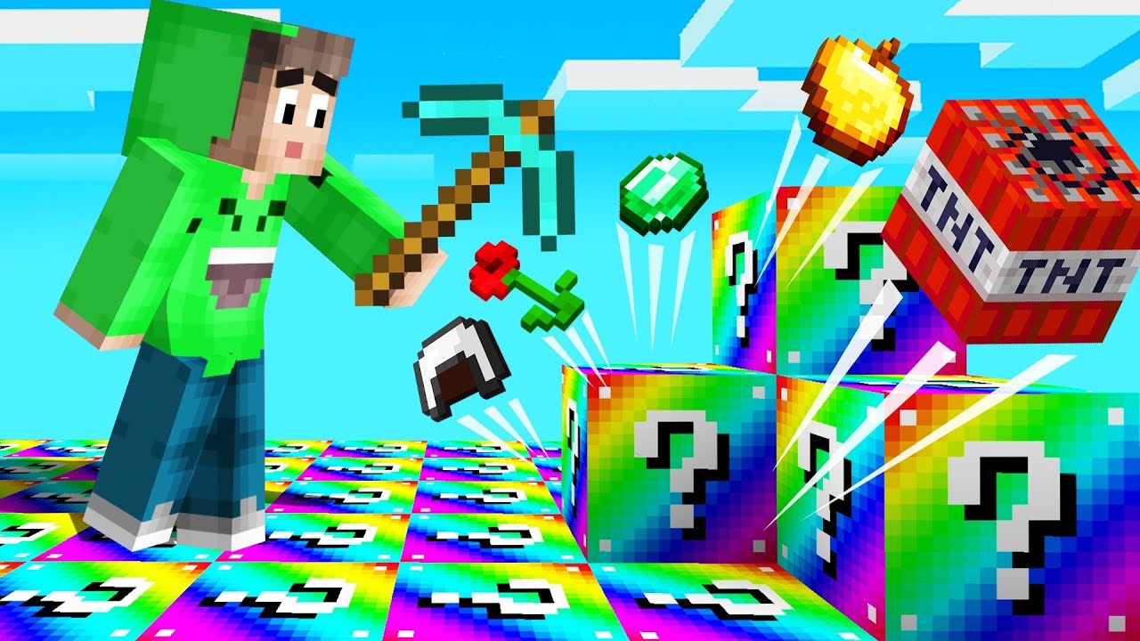 *RAINBOW* LUCKY BLOCK WORLD In MINECRAFT! (Surprise) thumbnail