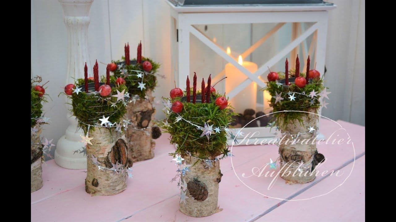 Weihnachtsdeko Aus Birke.Diy Mini Adventskranz Auf Birkenholz Weihnachtsdeko Mit Naturmaterialien