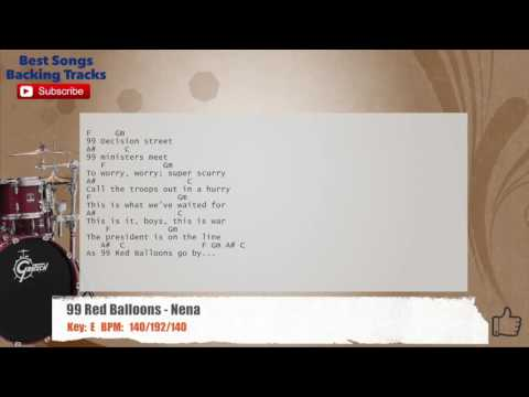 99 Red Balloons - Nena Drums Backing Track with chords and lyrics