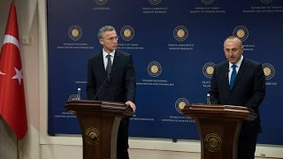 NATO Secretary General - Joint Press Point with the Minister of Foreign Affairs of Turkey (part 1/2)
