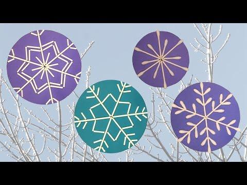 Q-tip snowflakes craft DIY