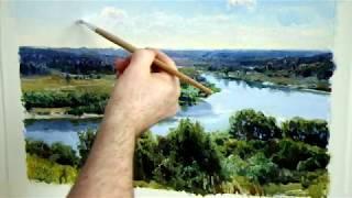 Видео урок масляной живописи. 2-х часовой этюд.  Пейзаж с рекой и далью.