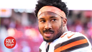 Myles Garrett says a 'fan' punched him in the face after taking a picture | Golic and Wingo