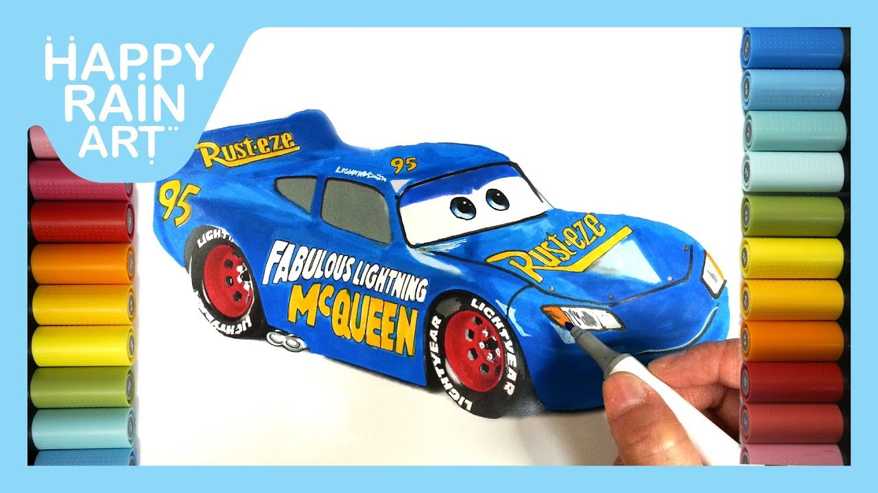 How To Color Fabulous Lightning Mcqueen Learn Colors For Kids Coloring Pages For Children Youtube
