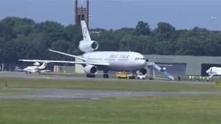 DC10 Omega Tanker + 2 F-18 Hornets takeoff [4K/UHD]
