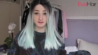 Kylie Jenner Inspired Pastel Blue Ombre Long Straight Synthetic Lace Front Wig | EvaHair Wig Review
