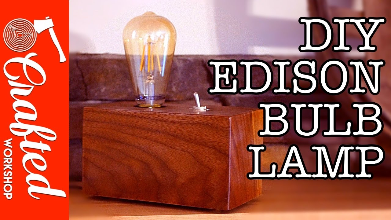Walnut Edison Bulb Lamp Diy Crafted
