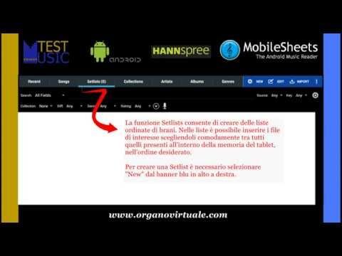 Manuale Test - Music: Crea una lista di brani con Mobilesheets